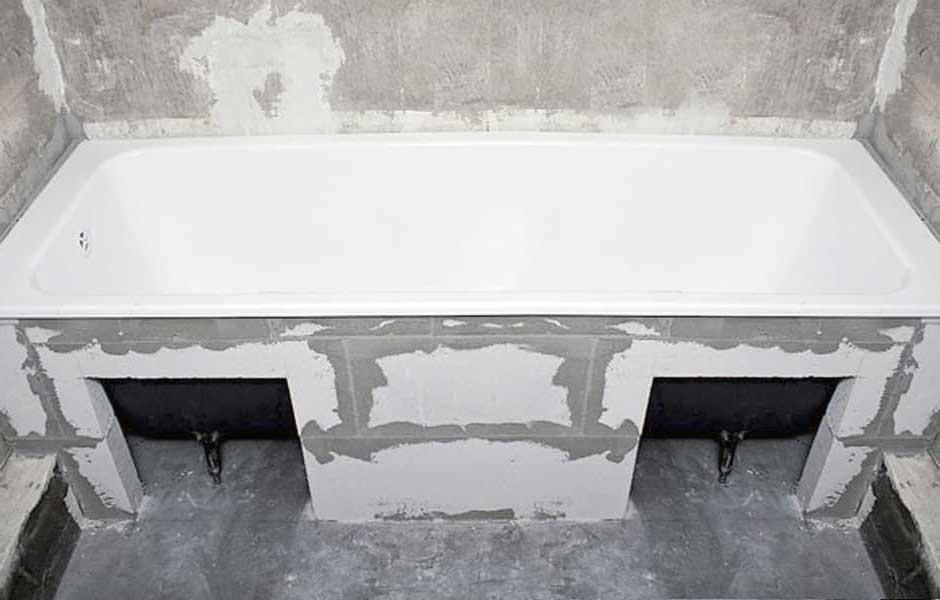 Экран для ванны из пазогребневых плит