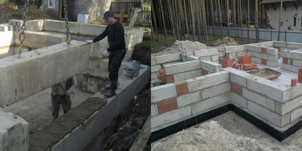 Установка блоков для фундамента